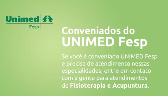Convênio UNIMED FESP para Fisioterapia e Acupuntura